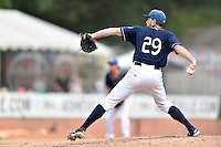 Asheville Tourists starting pitcher Drasen Johnson (29) delivers a pitch during a game against the Hagerstown Suns at McCormick Field on September 5, 2016 in Asheville, North Carolina. The Suns defeated the Tourists 9-5. (Tony Farlow/Four Seam Images)