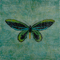 Mixed media encaustic photo painting of butterfly in blue green sky.