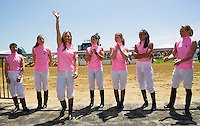 Rosemary Homeister is introduced for the Female Jockey Challenge on Black-Eyed Susan Day at Pimlico Race Course in Baltimore, Maryland on May 18, 2012.