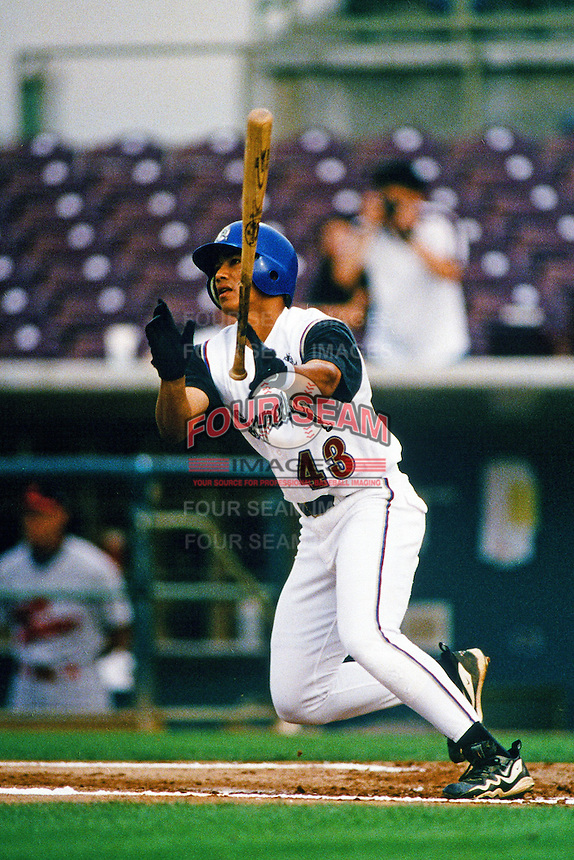 Chin-Feng Chen of the San Bernardino Stampede during a California League baseball game at The Ranch circa 1999 in San Bernardino,CA. (Larry Goren/Four Seam Images)
