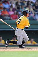 Left fielder Justin Maffei (6) of the West Virginia Power bats in a game against the Greenville Drive on Sunday, May 11, 2014, at Fluor Field at the West End in Greenville, South Carolina. Greenville won, 9-6. (Tom Priddy/Four Seam Images)