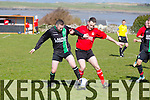 In Action Fenit's Peter McCarthy and Asdee's Joe Lynch at the  Fenit Samphires Vs Asdee Rovers   in the Greyhound Bar KO Cup 1st Round match at Fenit on Sunday