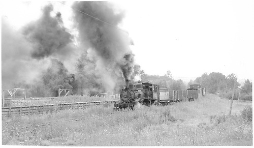 RGS #42 leaving Hesperus with the scrapper's train.<br /> RGS  Hesperus, CO  Taken by Richardson, Robert W. - 9/11/1952