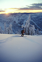 Anna Rose ski touring near Ymir Peak above Whitewater Resort. Nelson BC