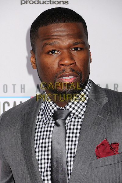 50 Cent, Curtis Jackson.40th Anniversary American Music Awards - Arrivals held at Nokia Theatre L.A. Live, Los Angeles, California, USA..November 18th, 2012.AMA AMAs headshot portrait tie white check shirt black gingham beard facial hair red handkerchief grey gray  .CAP/ADM/BP.©Byron Purvis/AdMedia/Capital Pictures.