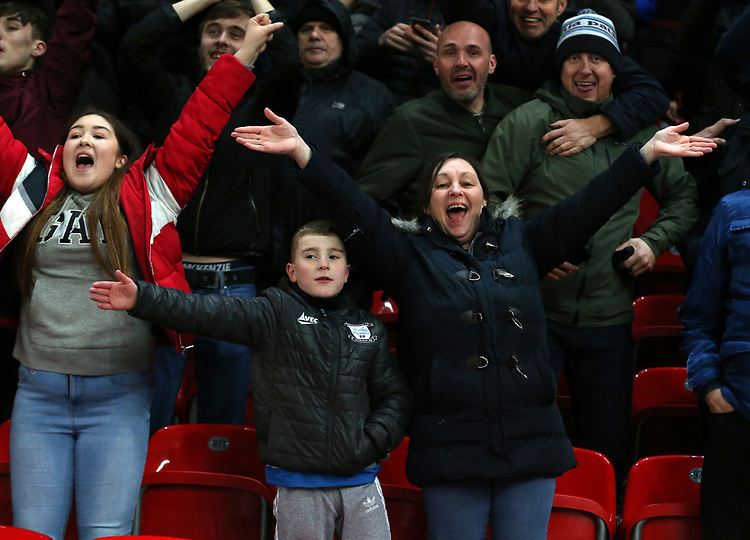 Preston North End fans celebrate their teams second goal<br /> <br /> Photographer Stephen White/CameraSport<br /> <br /> The EFL Sky Bet Championship - Stoke City v Preston North End - Saturday 26th January 2019 - bet365 Stadium - Stoke-on-Trent<br /> <br /> World Copyright © 2019 CameraSport. All rights reserved. 43 Linden Ave. Countesthorpe. Leicester. England. LE8 5PG - Tel: +44 (0) 116 277 4147 - admin@camerasport.com - www.camerasport.com