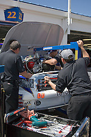 The Aaron's Lucky Dog Toyota crew pulls an engine prior to the Nascar Craftsman Truck Series O'Reilly Auto Parts 250 at Kansas Speedway in Kansas City, Kansas on April 28, 2007.