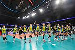 24.02.2019, SAP Arena, Mannheim<br /> Volleyball, DVV-Pokal Finale, SSC Palmberg Schwerin vs. Allianz MTV Stuttgart<br /> <br /> Jubel Schwerin nach Matchball / Sieg<br /> Nanaka Sakamoto (#9 Schwerin), Denise Hanke (#10 Schwerin), Anna Pogany (#4 Schwerin), Ralina Doshkova (#3 Schwerin), Tessa Polder (#5 Schwerin), Lauren Barfield (#12 Schwerin), Kimberly Drewniok (#8 Schwerin), Britt Bongaerts (#7 Schwerin), Elisa Lohmann (#14 Schwerin), Lea Ambrosius (#18 Schwerin), Mckenzie Adams (#13 Schwerin), Beta Dumancic (#11 Schwerin)<br /> <br />   Foto © nordphoto / Kurth