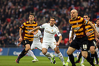 Pictured: Angel Rangel (C). Sunday 24 February 2013<br /> Re: Capital One Cup football final, Swansea v Bradford at the Wembley Stadium in London.