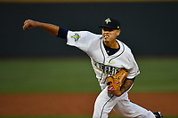 Pitcher Darwin Ramos (33) of the Columbia Fireflies delivers a pitch in a game against the Lakewood BlueClaws on Friday, May 5, 2017, at Spirit Communications Park in Columbia, South Carolina. Lakewood won, 12-2. (Tom Priddy/Four Seam Images)