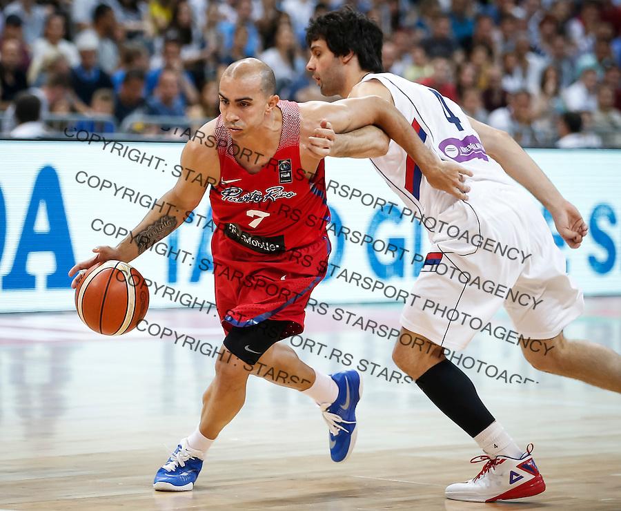 Kosarka FIBA Olympic Basketball Qualifying Tournament-FINAL<br /> Serbia v Puerto Rico<br /> Carlos Arroyo (L) and Milos Teodosic<br /> Beograd, 09.07.2016.<br /> foto: Srdjan Stevanovic/Starsportphoto&copy;