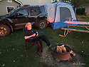 October 8 thru October 21, 2017 / Cross country Trip to Yellowstone National Park in Yellowstone, Wyoming / shown:  A relaxing cup of coffee as the sun sets and the campfire waits to be lit.  /   Stops in Laramie, Jackson, Yellowstone with travels thru Pennsylvania, Ohio, Indiana, South Dakota, Wyoming, Montana, North Dakota, Missouri, Minnosota, and Illanois.