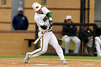 San Jacinto Gators infielder Peter Zimmerman (45) in action against the Bossier Parish Community College Cavaliers at Harrison Field on February 2, 2018 in Houston, TX. (Erik Williams/Four Seam Images)