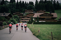 Team Trek-Segafredo leaving to the race start straight from the team hotel in Gstaad<br /> <br /> Stage 5: Gstaad &gt; Leukerbad (155km)<br /> 82nd Tour de Suisse 2018 (2.UWT)