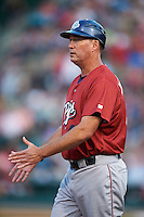 Lehigh Valley IronPigs manager Dave Brundage (45) during a game against the Rochester Red Wings on July 4, 2015 at Frontier Field in Rochester, New York.  Lehigh Valley defeated Rochester 4-3.  (Mike Janes/Four Seam Images)
