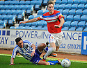 RANGERS' KIRK BROADFOOT IS CHALLENGED BY KILMARNOCK'S DANNY RACCHI