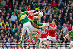Kieran Donaghy and David Moran Kerry in action against Ian Maguire and Sean Kiely Cork in the National Football league in Austin Stack Park, Tralee on Sunday.