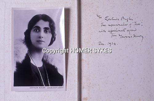 "Gurtrude Bugler as a young actress circa 1924 when she played Tess in ""Tess of the D'Urbervilles"" at the Duke of Yorks Theatre London. Friend of Thomas Hardy. "" To Gertrude Bugler the impersonator of ""Tess"" with affectionate regards from Thomas hardy. Dec 1924""."