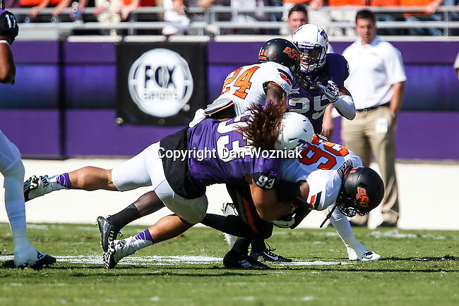 TCU Horned Frogs defensive end Mike Tuaua (93) in action during the game between the OSU Cowboys and the TCU Horned Frogs at the Amon G. Carter Stadium in Fort Worth, Texas. TCU defeated OSU 42 to 9.