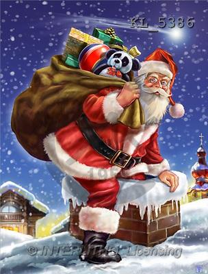 Interlitho, Lorenzo, CHRISTMAS SANTA, SNOWMAN, paintings, santa, bag, chimney(KL5386,#X#) Weihnachtsmänner, Schneemänner, Weihnachen, Papá Noel, muñecos de nieve, Navidad, illustrations, pinturas