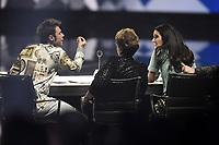 Milano 02/11/2017 - trasmissione Tv  X-Factor foto Daniele Buffa/Image/Insidefoto <br /> nella foto: Federico Lucia Fedez-Mara Maionchi-Claudia Lagona Levante