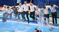 Sandro Campagna celebrates with the staff <br /> Spain - Italy Final <br /> Italy World Champion <br /> Gwangju South Korea 27/07/2019<br /> Nambu University Grounds  <br /> Waterpolo <br /> 18th FINA World Aquatics Championships<br /> Photo © Andrea Staccioli / Deepbluemedia / Insidefoto