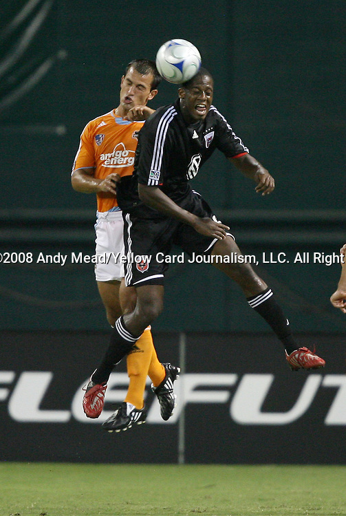19 July 2008: DC United's Quavas Kirk (r) and Houston's Patrick Ianni (l). The Houston Dynamo of Major League Soccer defeated DC United of Major League Soccer played 3-1 in a group stage match of the 2008 SuperLiga tournament at RFK Stadium in Washington, DC.