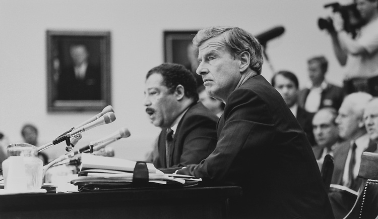 Richard Phelan and Rep. Julian C. Dixon, D-Calif., on July 20, 1989. (Photo by Laura Patterson/CQ Roll Call via Getty Images)