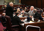 Nevada Assembly Republicans, from left, Ira Hansen, Jim Wheeler, Paul Anderson, Randy Kirner and John Ellison talk before a floor session at the Legislative Building in Carson City, Nev., on Monday, Feb. 9, 2015. <br /> Photo by Cathleen Allison