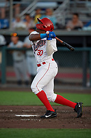Auburn Doubledays Landerson Pena (30) at bat during a NY-Penn League game against the West Virginia Black Bears on August 23, 2019 at Falcon Park in Auburn, New York.  West Virginia defeated Auburn 8-1, the first game of a doubleheader.  (Mike Janes/Four Seam Images)