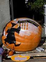 "Painted pumpkin with witch and message ""books are magic"" outside local bookstore, Damariscotta Maine, 2010"