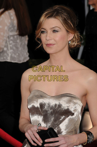 ELLEN POMPEO.14th Annual Screen Actors Guild Awards held at the Shrine Auditorium, Los Angeles, California, USA..January 27th, 2008.SAG red carpet arrivals half length silver metallic black clutch bag purse strapless dress .CAP/ADM/BP.©Byron Purvis/AdMedia/Capital Pictures. *** Local Caption *** .