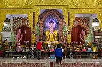 Statue of the Buddha in Dhammikarama Burmese Temple, George Town, Penang, Malaysia.