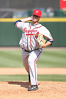 April 17th, 2008:  Pitcher Brad Nelson (31) of the Richmond Braves, Class-AAA affiliate of the Atlanta Braves, delivers a pitch during a game at Frontier Field in Rochester, NY.  Photo by:  Mike Janes/Four Seam Images