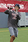 Gabe Marks warms up prior to the annual Washington State Cougar spring game, the Crimson and Gray game, at Joe Albi Stadium in Spokane, Washington, on April 23, 2016.