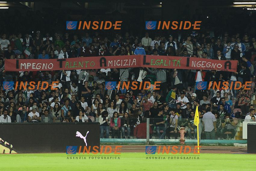 Striscione sulla legalita' tifosi Italia<br /> Napoli 15-10-2013 Stadio San Paolo <br /> Football Calcio Fifa World Cup 2014 Qualifiers <br /> Europe Group B <br /> Italia - Armenia <br /> Italy - Armenia <br /> Foto Andrea Staccioli Insidefoto