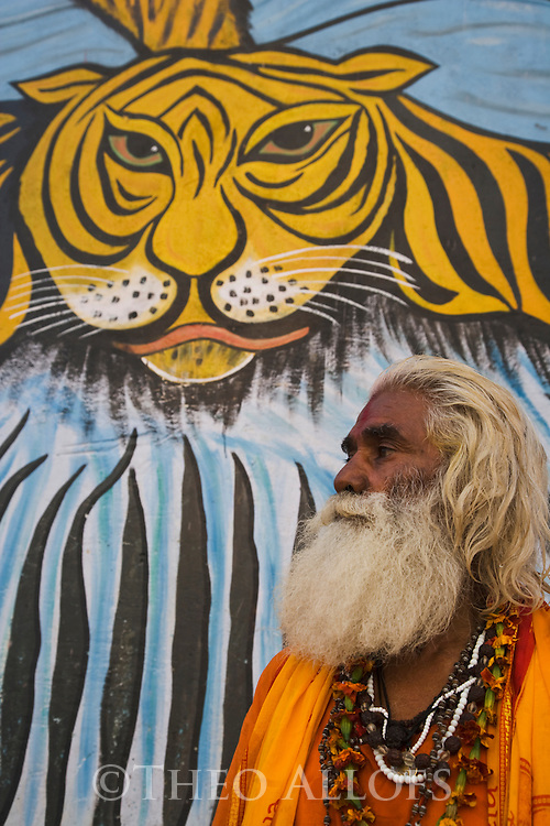 "Indian holy man, ""Sadhu"" in front of large wall tiger painting (mural);  Varanasi has been a cultural and religious center in northern India for several thousand years, Varanasi, Uttar Pradesh, India --- Model Released"