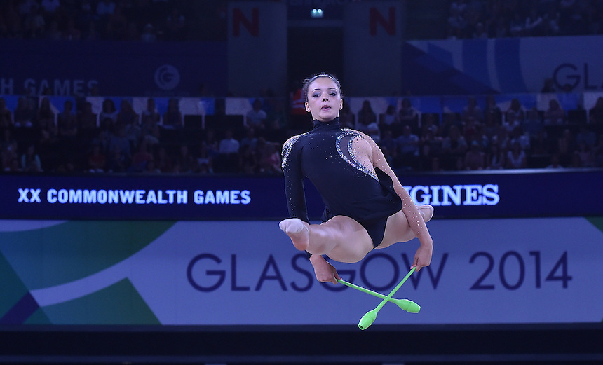 Bermuda's Gemma Lightbourne competes in rhythmic gymnastics team final and individual qualification subdivision 2<br /> <br /> Photographer Chris Vaughan/CameraSport<br /> <br /> 20th Commonwealth Games - Day 1 - Thursday 24th July 2014 - Rhythmic Gymnastics - The SSE Hydro - Glasgow - UK<br /> <br /> &copy; CameraSport - 43 Linden Ave. Countesthorpe. Leicester. England. LE8 5PG - Tel: +44 (0) 116 277 4147 - admin@camerasport.com - www.camerasport.com