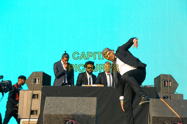 ISLE OF WIGHT, ENGLAND - SEPTEMBER 7: Jillionaire, Diplo(Thomas Wesley Pentz) and Walshy Fire of Major Lazer performing at Bestival, Robin Hill Country Park on September 7, 2014 in Isle of Wight, England<br /> CAP/MAR<br /> &copy; Martin Harris/Capital Pictures