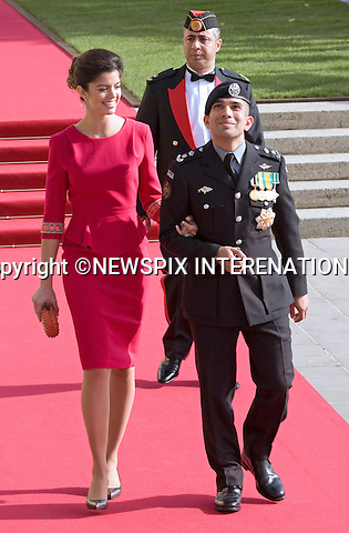 "PRINCE RASHID AND PRINCESS ZEINA OF JORDAN.Religious Wedding Ceremony of HRH the Hereditary Grand Duke and Countess Stéphanie de Lannoy at Cathedral of Our lady of Luxembourg, Luxembourg_20-10-2012.Mandatory credit photo: ©Dias/NEWSPIX INTERNATIONAL..(Failure to credit will incur a surcharge of 100% of reproduction fees)..                **ALL FEES PAYABLE TO: ""NEWSPIX INTERNATIONAL""**..IMMEDIATE CONFIRMATION OF USAGE REQUIRED:.Newspix International, 31 Chinnery Hill, Bishop's Stortford, ENGLAND CM23 3PS.Tel:+441279 324672  ; Fax: +441279656877.Mobile:  07775681153.e-mail: info@newspixinternational.co.uk"