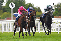 Winner of The Sorvio Insurance Brokers Maiden Stakes Mankayan (pink) ridden by Kieran Shoemark and trained by Charlie Fellows   during Evening Racing at Salisbury Racecourse on 11th June 2019
