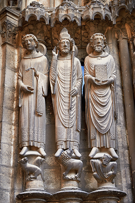 Gothic statues  from the North porch of Cathedral of Chartres, France. . A UNESCO World Heritage Site.
