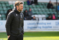 Lincoln City's assistant manager Nicky Cowley during the pre-match warm-up<br /> <br /> Photographer Andrew Vaughan/CameraSport<br /> <br /> The EFL Sky Bet League Two - Lincoln City v Cheltenham Town - Saturday 13th April 2019 - Sincil Bank - Lincoln<br /> <br /> World Copyright &copy; 2019 CameraSport. All rights reserved. 43 Linden Ave. Countesthorpe. Leicester. England. LE8 5PG - Tel: +44 (0) 116 277 4147 - admin@camerasport.com - www.camerasport.com