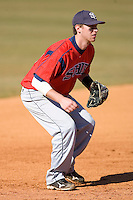 Third baseman Kevin Scholly #3 of the Shippensburg Red Raiders on defense versus the Catawba Indians on February 14, 2010 in Salisbury, North Carolina.  Photo by Brian Westerholt / Four Seam Images