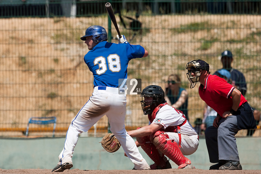 24 May 2009: Andrew Smith of Senart is seen at bat during the 2009 challenge de France, a tournament with the best French baseball teams - all eight elite league clubs - to determine a spot in the European Cup next year, at Montpellier, France. Senart wins 8-5 over La Guerche.