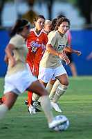 21 August 2011:  FIU's Kelly Ann Hutchinson (12) watches for a pass in the first half as the University of Florida Gators defeated the FIU Golden Panthers, 2-0, at University Park Stadium in Miami, Florida.