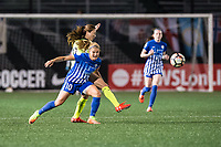 Boston, MA - Saturday April 29, 2017: Rosie White and Rumi Utsugi during a regular season National Women's Soccer League (NWSL) match between the Boston Breakers and Seattle Reign FC at Jordan Field.