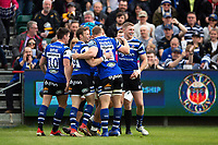 Bath Rugby players celebrate a try from Jonathan Joseph. Gallagher Premiership match, between Bath Rugby and Wasps on May 5, 2019 at the Recreation Ground in Bath, England. Photo by: Patrick Khachfe / Onside Images