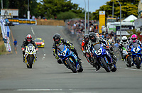 Scott Moir (8) takes the first corner at the start of  Formula One race one. The 2017 Suzuki series Cemetery Circuit motorcycle racing at Cooks Gardens in Wanganui, New Zealand on Tuesday, 27 December 2017. Photo: Dave Lintott / lintottphoto.co.nz