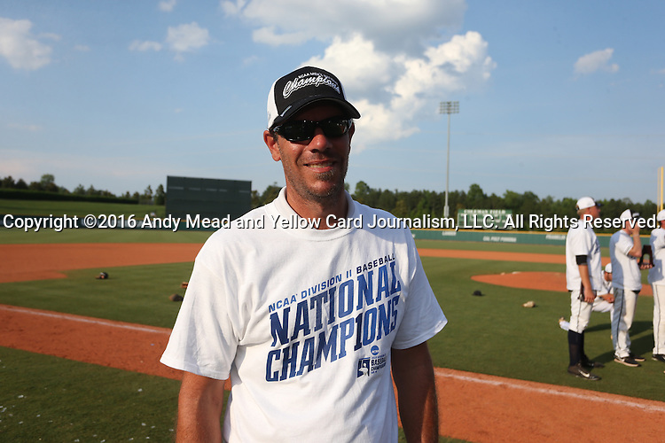 04 June 2016: Nova Southeastern trainer Jason Palmateer. The Nova Southeastern University Sharks played the Millersville University Marauders in Game 14 of the 2016 NCAA Division II College World Series  at Coleman Field at the USA Baseball National Training Complex in Cary, North Carolina. Nova Southeastern won the game 8-6 and clinched the NCAA Division II Baseball Championship.